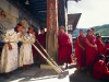 Thimphu Festival, Tsechu, monks in costume blowing the sacred horn
