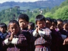 Morning prayers at primary school, Bumthang, Jakar Dzong in the background