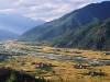 Farm lands, panoramic view of beautiful Paro Valley
