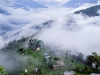 Mongar town and countryside in mountain mist