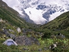 Trekking, Jhomolhari base camp, guests enjoying tea with glacier view