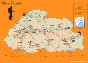 Bhutan Map(Tourist Destination trekking Map)